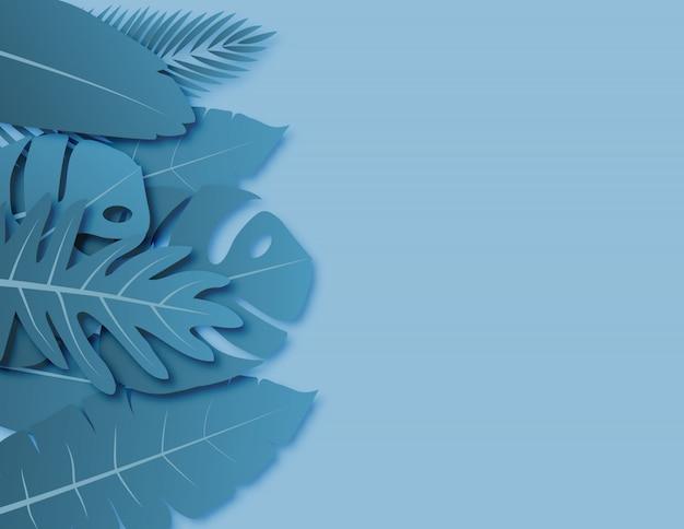 Tropische blätter mit blauem grünem pastellfarbenpapier schnitten art auf hintergrund