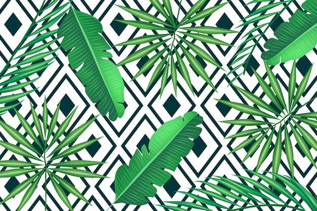 Tropische blätter mit geometrischem hintergrund