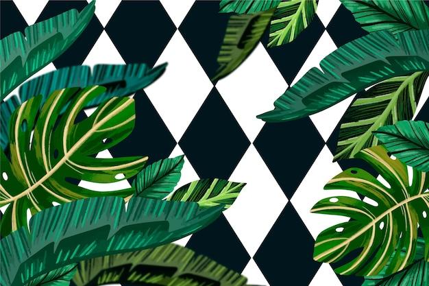 Tropische blätter mit geometrischem hintergrundthema