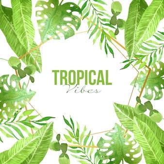 Tropische blätter mit goldenem rahmen