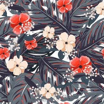 Tropische blätter, mit rotem blumenhintergrund. nahtloses mit blumenmuster im vektor. tropische illustration greenary. paradiesnaturdesign