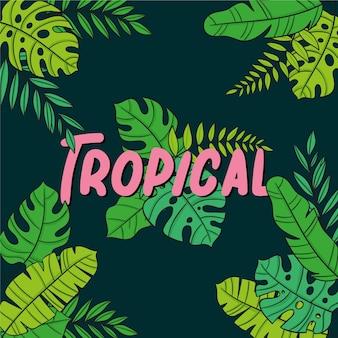 Tropische blätter mit schriftzug