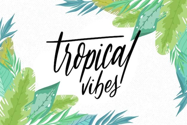 Tropische blätter schwingen schriftzug