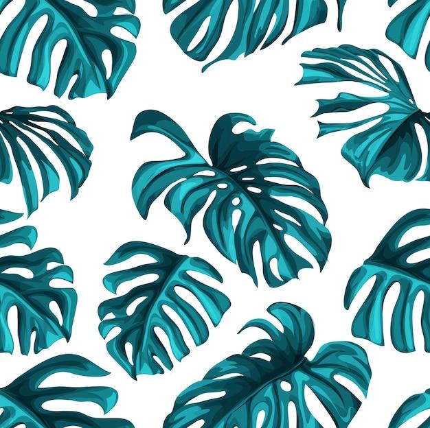 Tropische blätter sommer nahtlose muster hintergrundvorlage. dschungelwaldpalme, monstera blumen exotische pflanze, hawaii botanischen rahmen. vintage retro frühlingsillustration strandparty