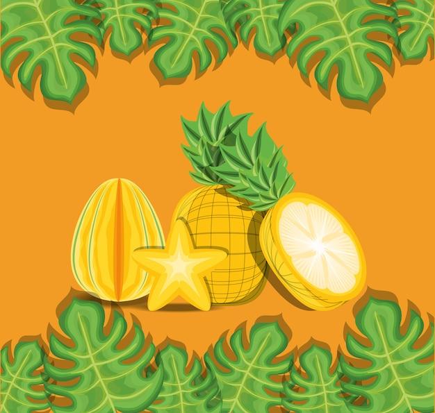 Tropische blätter und ananas und sternfrucht