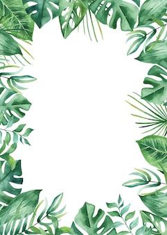 Tropische blätter und blumen des aquarellrahmens
