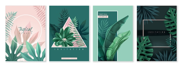 Tropische blätter und geometrische rahmenkarten. satz vertikaler einladungskarten.