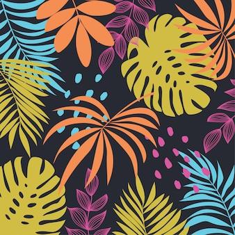Tropische blätter und pflanzen auf einem dunklen hintergrund
