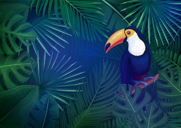 Tropische blätter und tukan-layout. konzept mit dschungelbananenblatt, exotischem vogel und areca-palme für sommerwerbeurlaub.