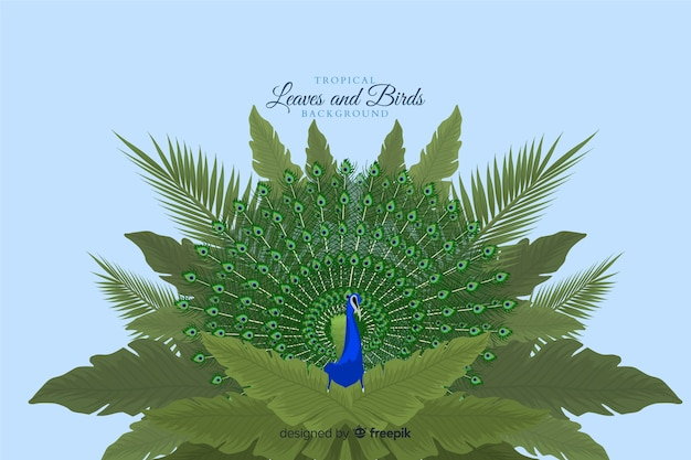 Tropische blätter und vögel
