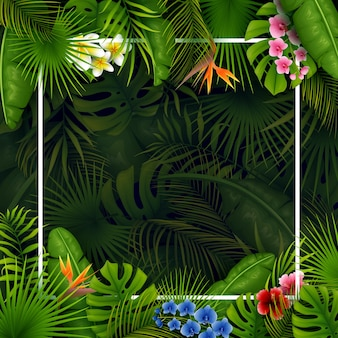 Tropische Blätter und Blumen mit leerem Rahmenquadrat