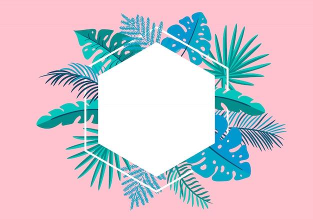 Tropische blattpalme des sommerblumenrahmens mit platz für text.