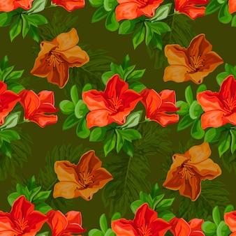Tropische blume des nahtlosen musters in der farbe brillante art