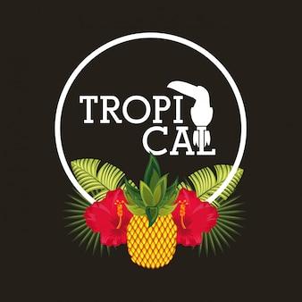 Tropische blume verlässt fruchtkarte