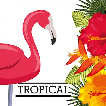 Tropische blume verlässt tierkarte