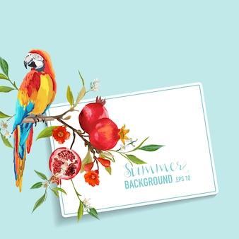Tropische blumen, granatäpfel und papageien-vogel-grafikdesign