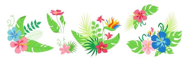 Tropische blumen und blätter des hawaiianischen blumenstraußes eingestellt. cartoon blumenkomposition. monstera, palme und wilde blumen, botanische sammlung. exotischer handgezeichneter grüner dschungel.