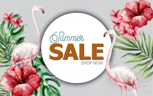 Tropische blumen und flamingo des sommers im aquarell