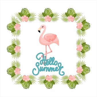 Tropische blumen und flamingo-sommer-banner-grafikhintergrund exotische blumeneinladung