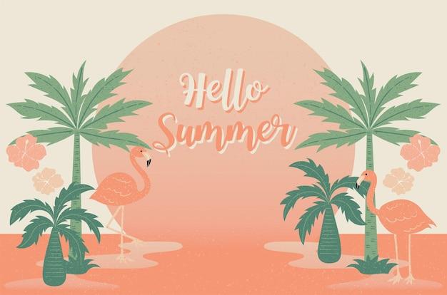 Tropische blumen und flamingosommerfahne grafischer hintergrund exotische sommereinladung