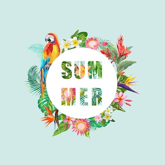 Tropische blumen und papageien-vogel-hintergrund. sommer-design.. t-shirt mode-grafik. exotisch.