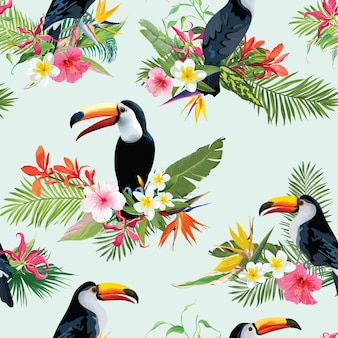 Tropische blumen und tukan-vögel-nahtloser hintergrund. retro-sommer-muster