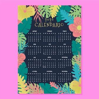 Tropische blumenkalender-schablone 2020