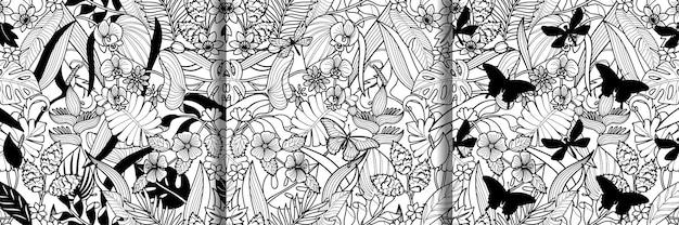 Tropische blumenpflanzen mit nahtlosen mustern der schmetterlinge und der libelle eingestellt blumentapeten
