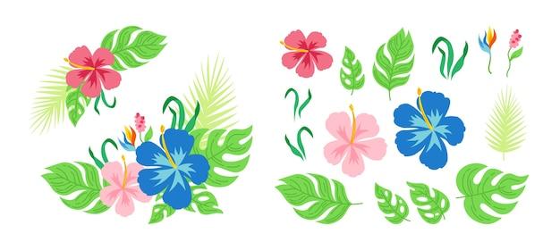 Tropische blumenstraußblumen und -blätter. hawaiianische karikaturkarte. blumige flache zusammensetzung für einladung oder feiertag. sammlung von monstera, palmen und wildblumen. exotischer handgezeichneter dschungel.