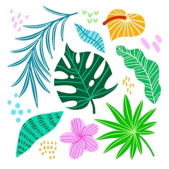 Tropische bunte blätter und blumen