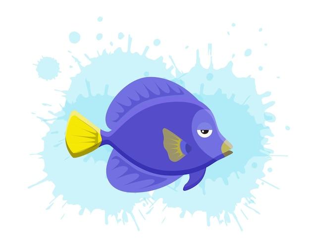 Tropische bunte fische des meereslebens stellten illustration in der karikatur ein