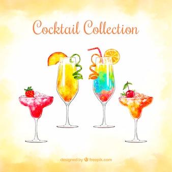 Tropische cocktailsammlung mit aquarellart