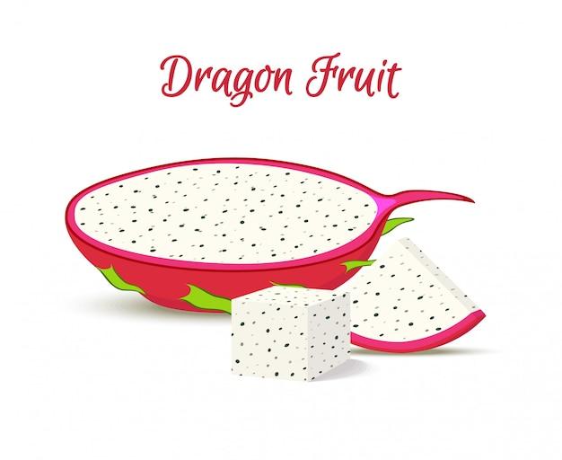 Tropische drachenfrucht, pitaya in scheiben.
