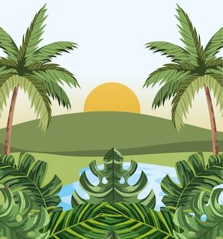 Tropische dschungelkarikatur