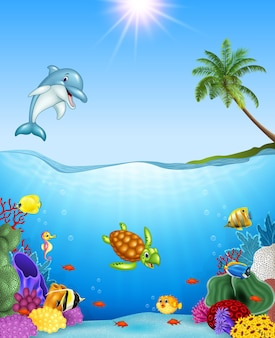 Tropische fische der karikatur