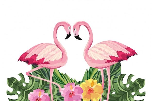 Tropische flamingokarikatur