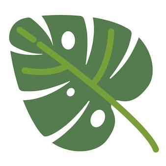 Tropische flora und dekoration, isoliertes blatt der monstera-pflanze. symbol für hawaii, sommer und urlaub. grün der tropen, exotische botanische artenvielfalt. natürlicher stall, vektor im flachen stil