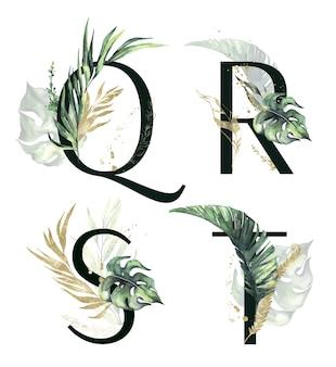 Tropische florale alphabet-kollektion