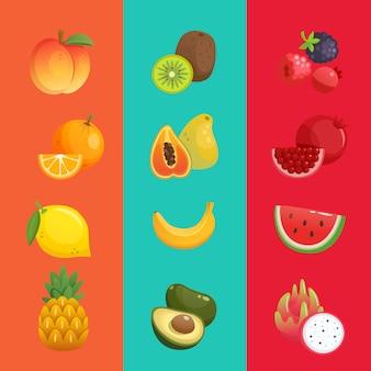 Tropische frucht banane wassermelone orange
