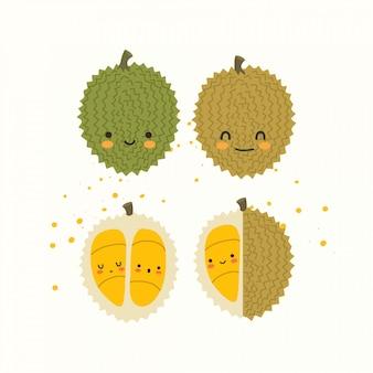 Tropische frucht mit nettem gesicht