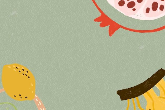 Tropische früchte auf einer salbeigrünen hintergrund-designressource