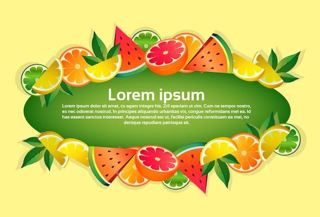 Tropische früchte bunte kreis kopie raum organisch