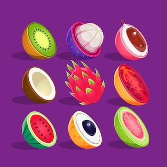 Tropische früchte in der hälfte des satzes der hellen symbole geschnitten