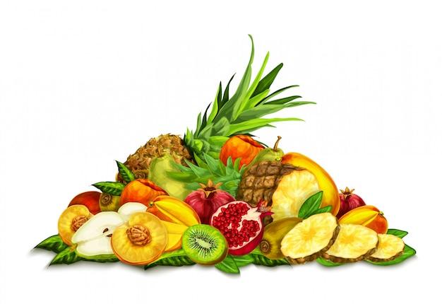 Tropische früchte set stillleben