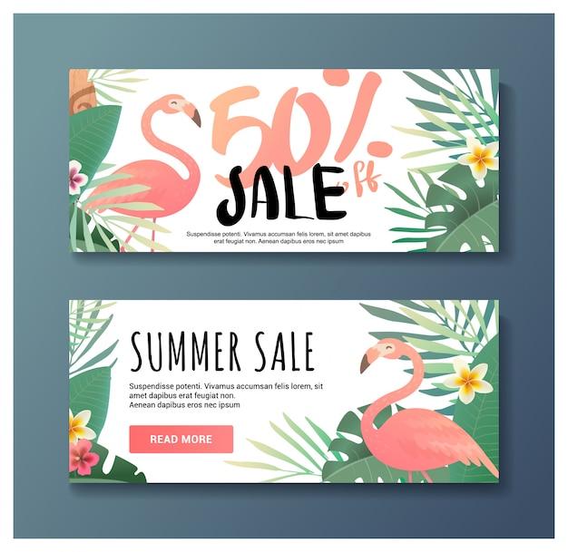 Tropische geschenkgutscheinvorlage mit flamingo