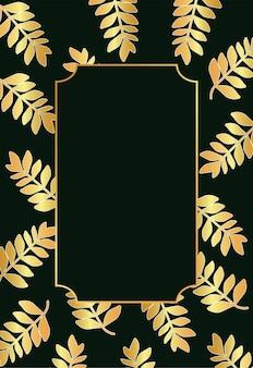 Tropische goldene blätter und rahmen im schwarzen hintergrund