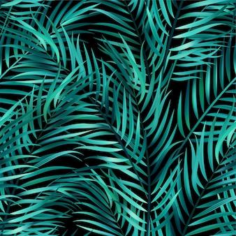 Tropische grüne palmblätter, dschungelblätter nahtloser vektorblumenmusterhintergrund
