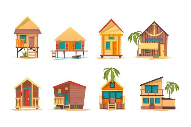Tropische häuser. bungalow strand gebäude inselhaus für sommerferien bilder sammlung