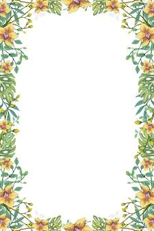 Tropische hawaii-blumen-blatt-hintergrund-rahmen-illustration