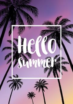 Tropische hintergründe des sommers mit palmen